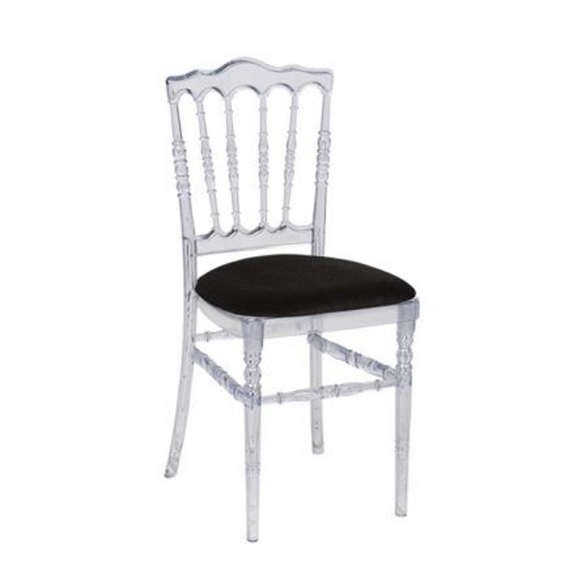 Chaise napoleon cristal galette noire